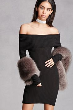A ribbed knit bodycon dress featuring an off-the-shoulder neckline, fold-over design, and long sleeves. This is an independent brand and not a Forever 21 branded item.