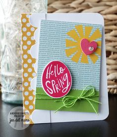 Happy Spring Card by Jen del Muro. Reverse Confetti stamp set: More Than Jelly Beans. Confetti Cuts: More Than Jelly Beans, Love Note (Heart), Sun 'n Clouds and Double Edge Wonky Scallop.  Border. Quick Card Panel: Spring Fling. Spring card. Easter card. Friendship card. Any occasion card.