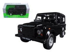 Land Rover Defender Black 1/24 Diecast Model Car by Welly - Brand new 1:24 scale diecast model car of Land Rover Defender Black die cast car model by Welly. Brand new box. Rubber tires. Detailed interior, exterior. Has opening hood and doors. Made of diecast with some plastic parts. Dimensions approximately L-6.5, W-3, H-3.25 inches. Please note that manufacturer may change packing box at anytime. Product will stay exactly the same.-Weight: 2. Height: 6. Width: 11. Box Weight: 2. Box Width…