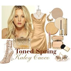 Kaley Cuoco - Toned Spring by prettyyourworld on Polyvore featuring beauty, Dolce&Gabbana, Guerlain, Anastasia Beverly Hills, Lanvin, Ippolita, NLY Accessories, Shyla and Sophia Webster
