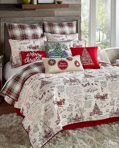 christmas room 10 Farmhouse Christmas B - Christmas Bedding, Plaid Christmas, Christmas Home, Christmas Music, Christmas Florida, Christmas Sheets, Reindeer Christmas, Christmas Ideas, Farmhouse Christmas Decor