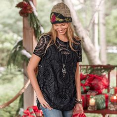 """SHADOW DANCE TEE--Our fanciful take on this tee shirt with vintage lace, raw-edge trim on neckline and sleeves, and hi-lo hem. Camisole included. Polyester. Hand wash. Imported. Exclusive. Sizes XS (2), S (4 to 6), M (8 to 10), L (12 to 14), XL (16). Front approx. 28-1/4""""L. $118"""