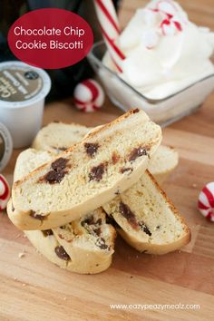 Chocolate Chip Cookie Biscotti: Delcious biscotti perfect for hot cocoa, and some peppermint whipped cream! #ad #Keurig400 - Eazy Peazy Mealz