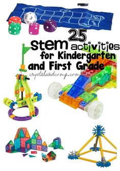 25 STEM activities for kindergarten and first grade We are really working away and discovering all of the great STEM activities for different ages. STEM activities for kids is a really great way to learn and e Stem Science, Science Activities, Montessori Science, Math Stem, Science News, Kindergarten Stem, First Grade Science, Stem Learning, Learning Centers