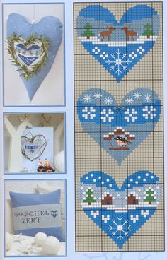 Free cross stitch pattern for ornaments Xmas Cross Stitch, Cross Stitch Christmas Ornaments, Cross Stitch Needles, Cross Stitch Heart, Cross Stitch Cards, Christmas Embroidery, Christmas Cross, Cross Stitching, Cross Stitch Embroidery