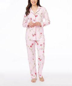 Look what I found on #zulily! Pink Carnations Pajama Set - Women by Carole Hochman #zulilyfinds