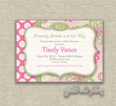Preppy Baby Shower Girl Invitation Invite Pink Green by girlsatplay Etsy girls at play prints