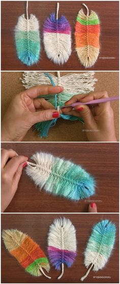 We've discovered these gorgeous Crochet Beautiful Feathers Pattern Ideas. We are always try to show unique ideas and here is these breathtaking crochet feathers pattern ideas. They can be a nice gift or souvenir. Crochet Diy, Crochet Crafts, Yarn Crafts, Crochet Projects, Diy And Crafts, Sewing Projects, Crochet Ideas, Diy Yarn Decor, Macrame Projects