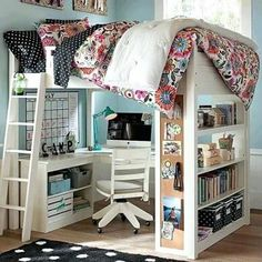 i wanted a bed like this in grade when i moved into my new room. I love my room now though, mother knows best! Bedroom Loft, Teen Bedroom, Dream Bedroom, Teenage Bedrooms, Kid Bedrooms, Pretty Bedroom, Cozy Bedroom, Childs Bedroom, Bedroom Workspace