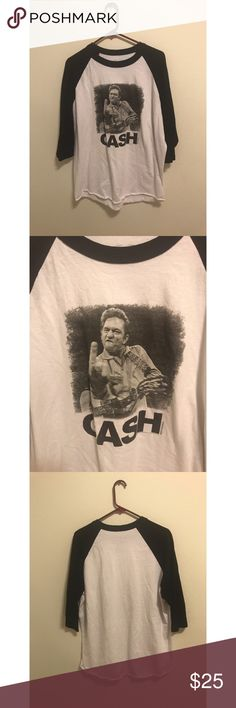 "Johnny Cash Baseball Tee Johnny being Johnny lol Nice Vintage Tee Underarm to underarm-21"" Length-29"" Shirts Tees - Long Sleeve"