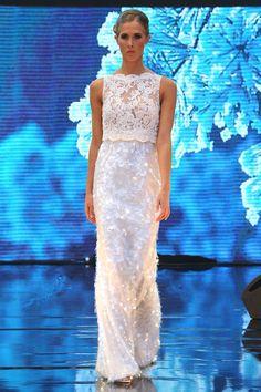 Winterwhite sequined dress by Addy van den Krommenacker
