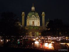 Adventmarkt at the Karlskirche, Vienna Vienna Austria, Cool Places To Visit, The Good Place, Taj Mahal, Europe, Christmas Markets, Cathedrals, Building, Photography