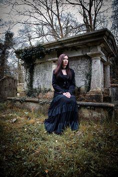 Victorian Gothic fashion shoot. Model: Lora Clark. MUA: Viktoria Kohl. Stylist: Victoria Tay. Photographer: Andrew Boschier. Location: Hambledon Church, Surrey.