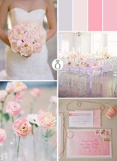 Pale pink wedding color palette suggestion for a Spring Wedding.