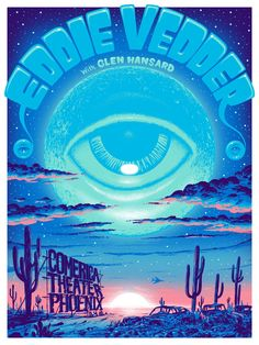 2012 Eddie Vedder - Phoenix Silkscreen Concert Poster by Jeff Soto Tour Posters, Band Posters, Music Artwork, Art Music, Poster On, Poster Prints, Art Prints, Pearl Jam Posters, Vintage Music Posters