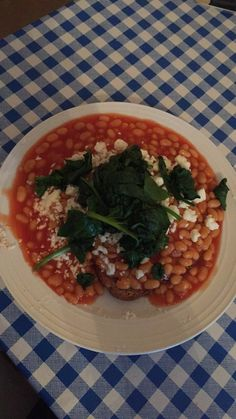 Spinach and feta beans on toast