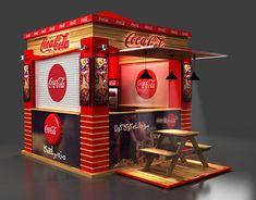 Coca Cola Canteen Design on Behance Shipping Container Cafe, Container Shop, Container House Design, Kiosk Design, Cube Design, Retail Design, 3d Design, Coca Cola, Food Cart Design