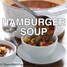 Easy Hamburger Soup - Spend With Pennies Easy Hamburger Soup, Hamburger Meat Recipes, Beef Soup Recipes, Chicken Recipes, Cooking Recipes, Banana Frosting, Current Week, Emerald Bracelet, Food Dinners