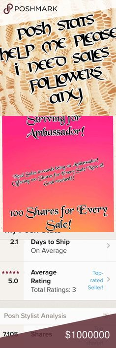 Posh Stats  to Ambassador!! Thank You to Everyone that has has Shared info, encouragement, sold to me, and Followed/Shared my Closet. NOW it is down to I Need to Share my Closet more and Make a few more Sales!!!  ANY PURCHASE EARNS   💥💥💥100 Shares from Your Closet for Every Sale I Make til Goal Reached!!  PLEASE Like,Follow and Share my Follow Game if you'd like my Followers.   Thank You for your time and attention. 😎💕💖 5.11 Tactical Other