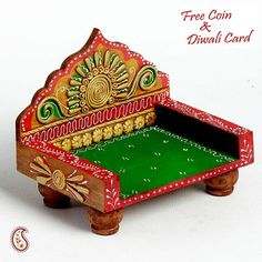 Hand painted Mini Chowki Throne made in wood n clay - Online Shopping for Diyas and Lights by Apno Rajasthan