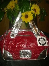 "Kathy van zeeland v pretty golden & Red handbag 4 woman . F 4 $54.99 newt size len10"". W17"""