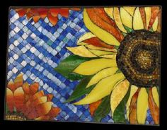 mosaics in nature | Sunflower, Sunflowers, Mosaic, Garden, Stain Glass, Colorful