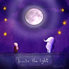 Invite the light - Buddha Doodles Baby Buddha, Little Buddha, Buddha Zen, Buddha Quote, Buddha Sayings, Meditation Quotes, Yoga Meditation, Buddah Doodles, Buddha Thoughts
