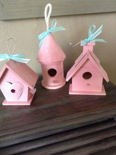 Three Shabby Pink Birdhouses  Baby Shower by VintageDelight374, $18.00