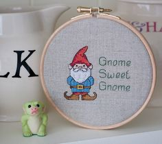 """""""Gnome Sweet Gnome"""" cross stitch by Another Goldfish"""