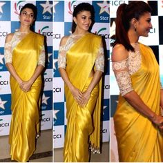 Jacqueline Fernández looked radiant in a yellow @manishmalhotra05 sari  #bollywood #style #fashion…""