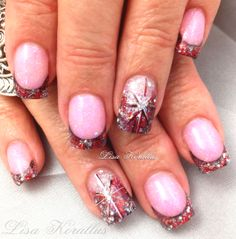 Pink and White Gel Enhancement with hand painted snowflakes.  #pinkandwhitegelnails #onestrokepainting #holidaynailart #Christmas  #snowflakes #gelnails #nailart #handpaintednails #naildesign #nails #lisakorallus #liquidglamour #nailpictures