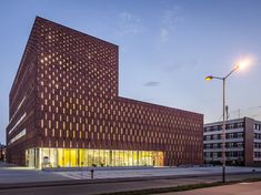 Katowice Library by - The Katowice Library by is a university campus facility located in Katowice, Poland. Officially titled the 'Katowice Scientific Informatio. University Architecture, Brick Architecture, Contemporary Building, Contemporary Architecture, Facade Pattern, Brick Works, Library University, Modern Library, Brick Facade