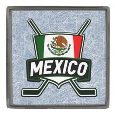 México Mexico Hockey Flag Logo Lapel Pin.  Custom made stylish lapel pin, available in gunmetal, silver plated and gold plated finishes. The design is covered with a high shine resin dome. #HockeyPins