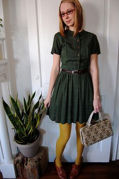 dress, tights, bag, shoes...