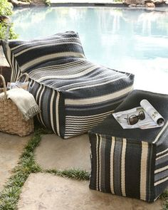 Comfy Outdoor Furniture In Charcoal And Natural Stripes, Like The Striped  Outdoor Beanbag Chair U0026