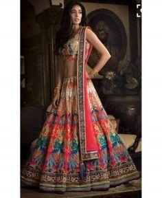 Krutarth Couture Beautiful Multi Color Satin Semi Stitched Lehenga Choli