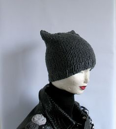 Knit Hat Cat Ears Hat Cat Beanie Chunky Knit by recyclingroom, $23.00