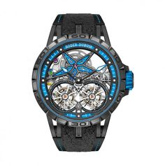 See the Roger Dubuis Excalibur Spider Pirelli - Double Flying Tourbillon watch - Movement : Manual-winding mechanical - Case : Titanium Best Mens Luxury Watches, Stylish Watches, Cool Watches, Latest Watches, Bulova Watches, Gents Watches, Roger Dubuis, Excalibur, Pirelli