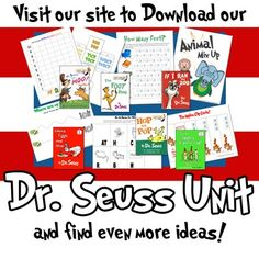 Are you looking for Dr Seuss printables to help celebrate Read Across America? Grab this FREE preschool set and do an author study with your kiddos. Dr. Seuss, Dr Seuss Week, Dr Seuss Activities, Book Activities, Church Activities, Toddler Activities, School Holidays, School Fun, School Stuff