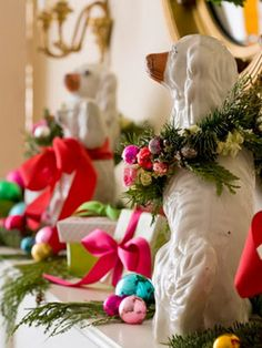 Love this way to style your Staffordshire dogs for the holidays.