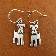 Tiny schnauzer earrings by StickManJewelry on Etsy