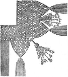 FIG. 604. FRINGE WITH POINTED SCALLOPS AND LARGE TASSELS.
