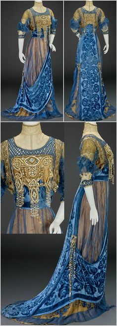 Evening dress by G. Giuseffi Ladies' Tailoring Company American about Silk satin silk velvet silk chiffon silk net pearls rhinestones sequins. Images courtesy of the Indianapolis Museum of Art. Edwardian Dress, Edwardian Fashion, Vintage Fashion, Antique Clothing, Historical Clothing, Edwardian Clothing, Vintage Gowns, Vintage Outfits, Beautiful Gowns