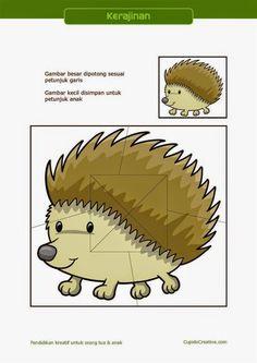 kerajinan gunting tempel PAUD (balita/TK) : buat sendiri puzzle landak Cut And Paste, Preschool Learning, Puzzles, Hedgehog, Stage, Activities, Hedgehogs, Speech Language Therapy, Therapy