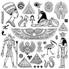Illustration about Set of Vector Egypt symbols and objects. Illustration of ancient, icon, hieroglyphs - 53679403 Tattoo Sketches, Tattoo Drawings, Body Art Tattoos, Small Tattoos, Schulterpanzer Tattoo, Kopf Tattoo, Horus Tattoo, Anubis Tattoo, Bastet Tattoo