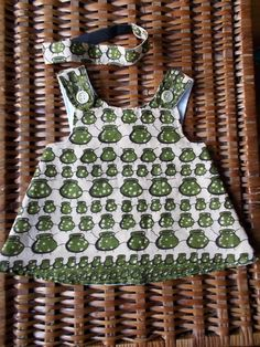 Baby Cross-Back Pinafore African Little Pots and Headband