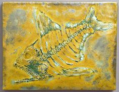 Fossil Fish porcelain glaze painting, Bruce Gholson