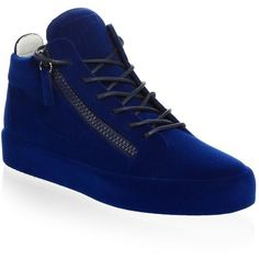 934f9ca2b6b Giuseppe Zanotti Velvet Spray High-Top Sneakers ( 895) ❤ liked on Polyvore  featuring