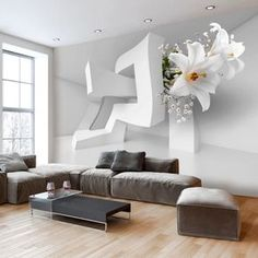 Top 50 Contemporary Wallpaper Ideas with Images - Home Decor Ideas UK Floor Design, Wall Design, 3d Wallpaper For Walls, Wallpaper Ideas, Photo Wallpaper, Patio Furniture Cushions, Contemporary Wallpaper, Home And Deco, Image House