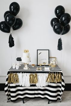 Black Gold Party A black and white party is one of the best new years eve party theme ideas! - Here are some of the best New Years Eve party theme ideas for adults who love food, games, party favors, themes, and more! White Bridal Shower, Gold Bridal Showers, Birthday Table, Birthday Parties, Gold Birthday, 20th Birthday, Tea Parties, Birthday Ideas, Happy Birthday